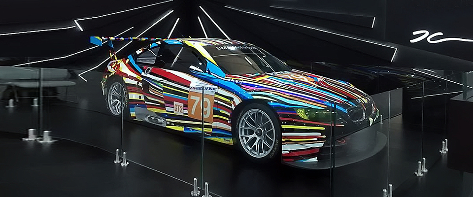 ibmw m3 gt2, painted jeff koons, india art fair, a luxury car painted as a piece of modern art in different colors