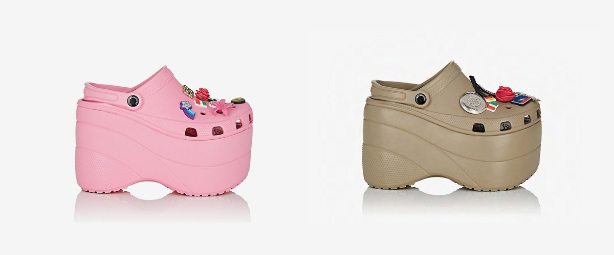 The new revolutionized crocs in trendy baby pink and blue color with elevation adding to the style quotient with accessories.