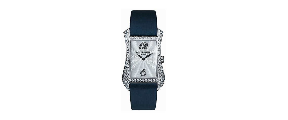 A Blue Strapped Watch With A White Dial By Patek Phillipe For Women Embellished With Gems A Swiss Luxury Wristwatch