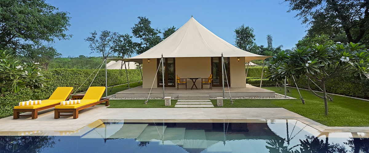 Tented safari camps, colonial villas, regal tents, private pools, luxurious swimming poolside bed and lounger