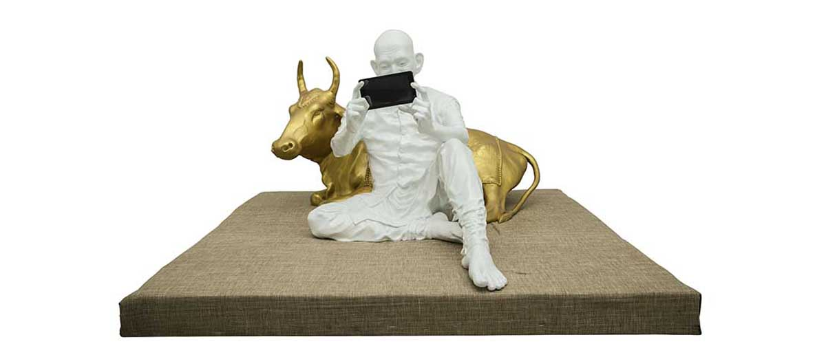 A Cow And Gandhi As A Statue, A Piece Of Art Gandhi Fibre Glass Sculpture Selfie With Cow By Debanjan Roy