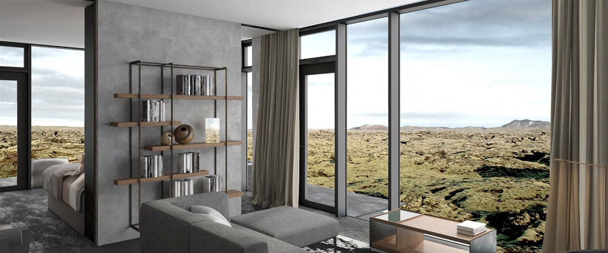 Retreat resort, aesthetic design, glass walls, valleyscapes, floor-to-ceiling glass windows, lichen-coated lava texture