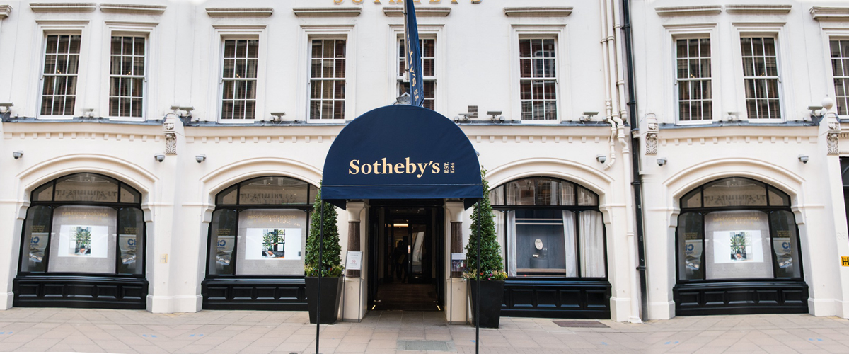 The entrance to Sotheby's on Bond Street
