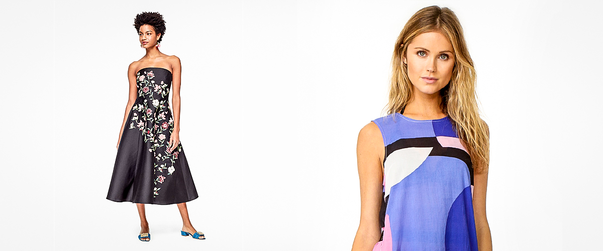 Pieces from Kate Spade's clothing line viz. black dress designed with yellow flowers on its front and a blue top with a splash of more fresh colours on it.
