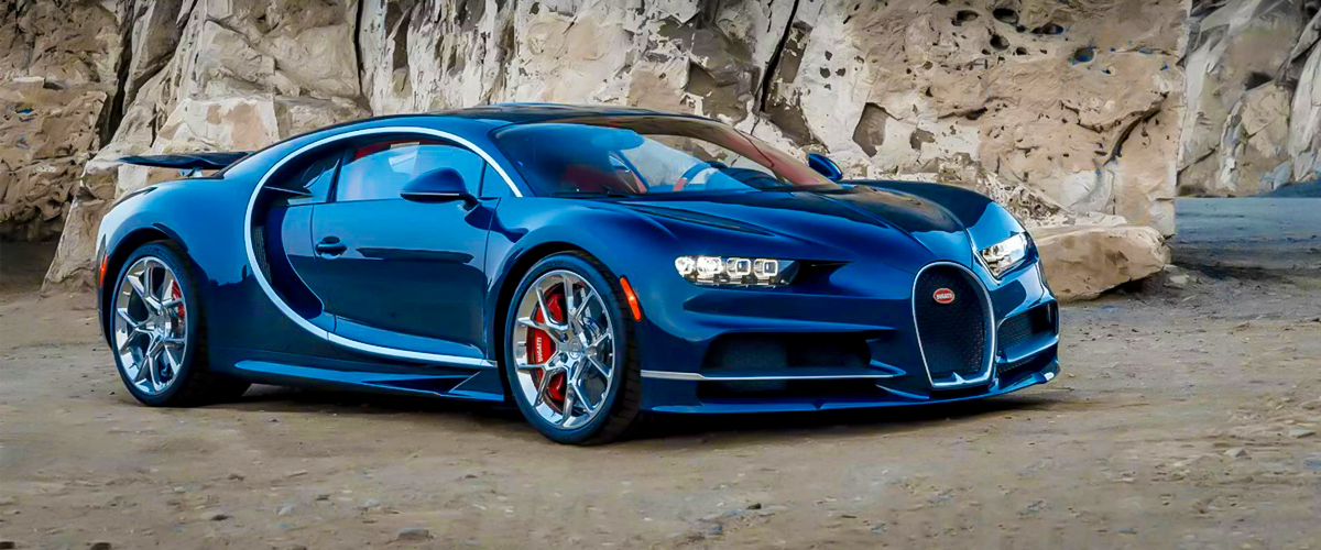 The front view of a navy blue Bugatti Chiron that gives it a stylish look and edgy exterior.