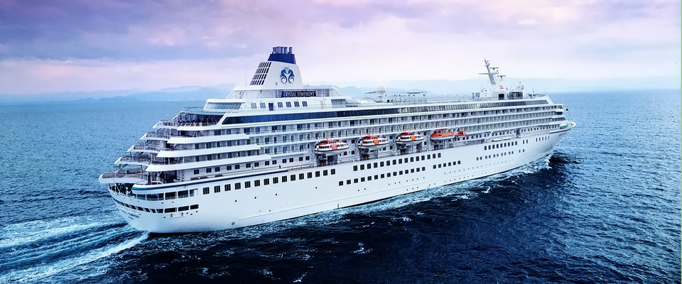 Crystal Cruise ship, nine decks cruise ship, packages exotic luxury on board sail sea, boutique hotel on water, Crystal Cruise