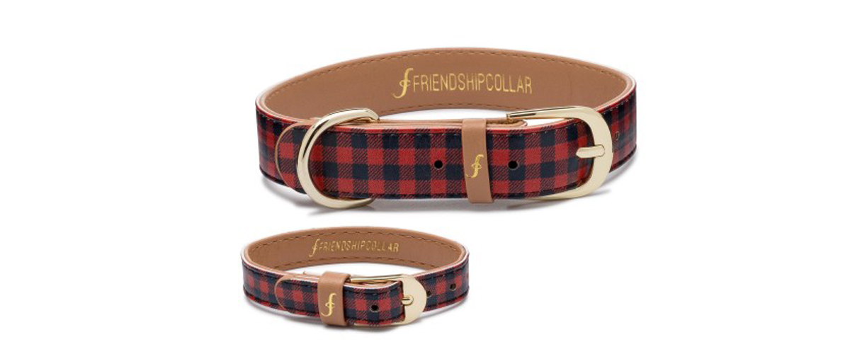 A stylish maroon and black printed collar with the look of a belt to provide comfort with a matching wrist band for owner.