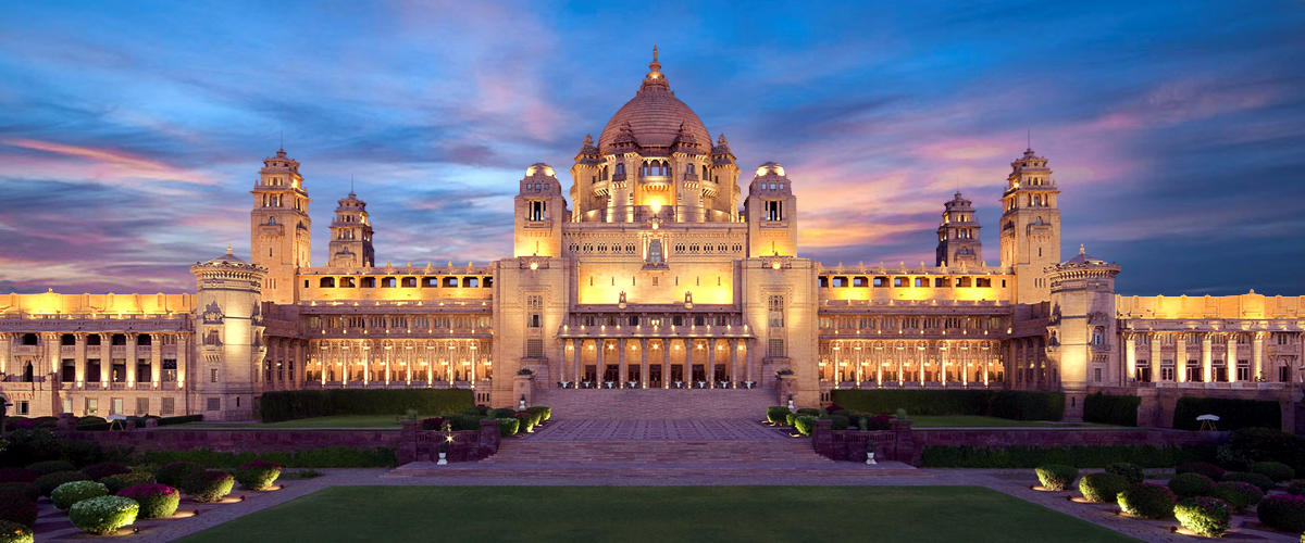 The magnificent facade of the Umaid Bhawan Palace in Jodhpur, one of the best heritage properties in India.