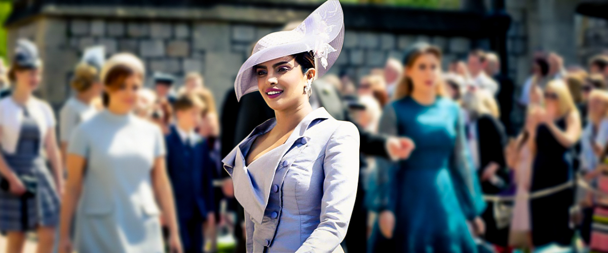 Bollywood actress Priyanka Chopra in a lilac dress by Westwood with a Philip Treacy hat