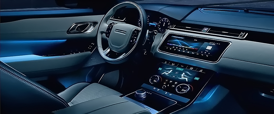 The Black Luxurious And Edgy Interiors Of Velar Suv By Range Rover