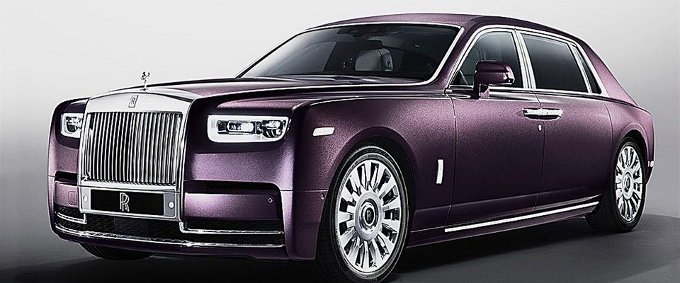 A Purple Colored Rolls Royce Phantom Viii, Freshly Released, Shining In The Light