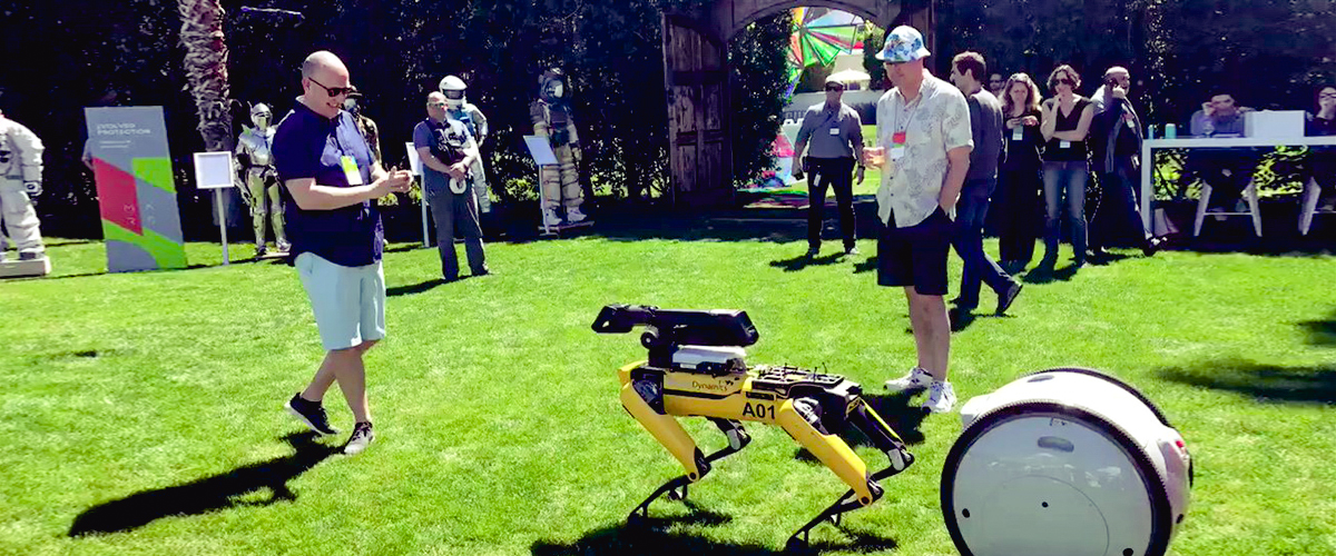 Jeff Bezos spends a pleasant afternoon playing with his robot, Spotmini