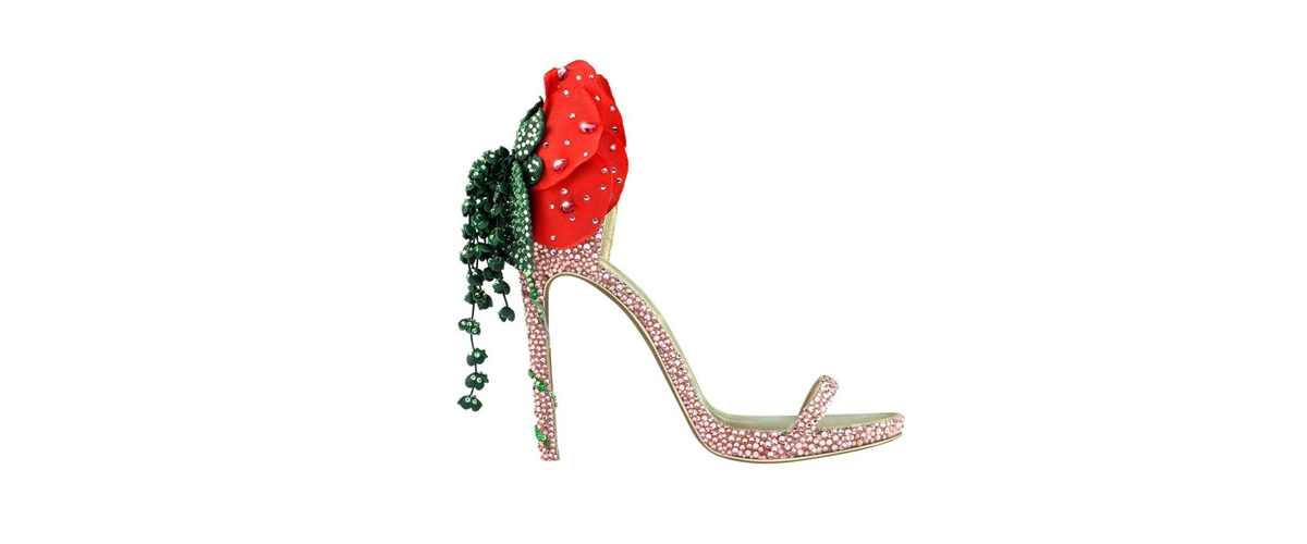 Josephine, the shoe accessorized with queen josephine's favorite flower, the rose. It has a luxurious look.