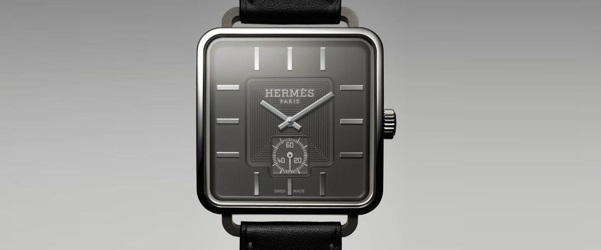 A Luxury Watch By Hermes With A Stunning Black Dial And Silver Needles Adding To The Edge Of It