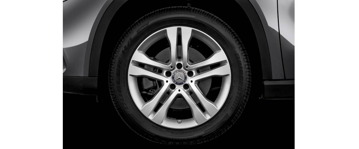 Newly designed tyres of Mercedes with Mercedes logo on the rim