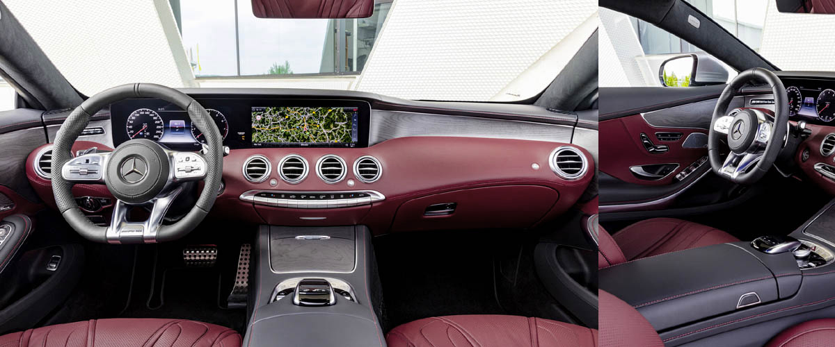 Interior of new Mercedes-Benz C 300, a Luxury car, with the open sunroof and ruby coloured stylish seat cover.