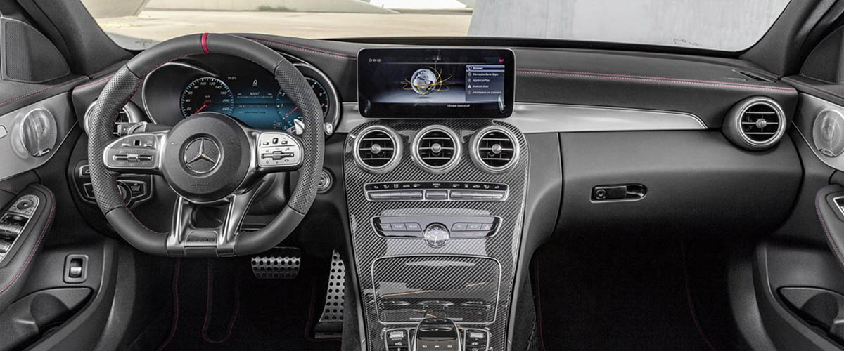 Interior of the new model of Mercedes Benz c300, grey coloured interiors, All control units & speedometer and GPS