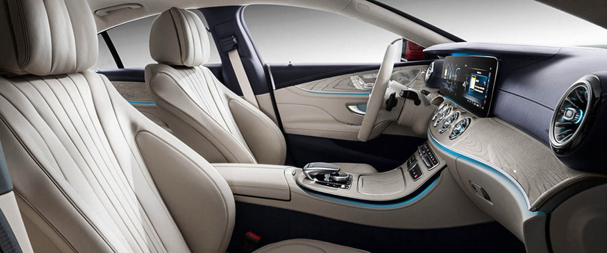 Interior of the new model of Mercedes Benz C 300, peach coloured seat with accessories, New design of Mercedes