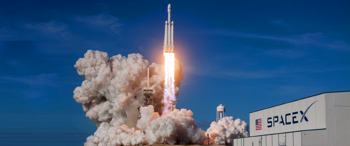 A spaceship made by Musk's SpaceX in its launching state, a project by Elon Musk