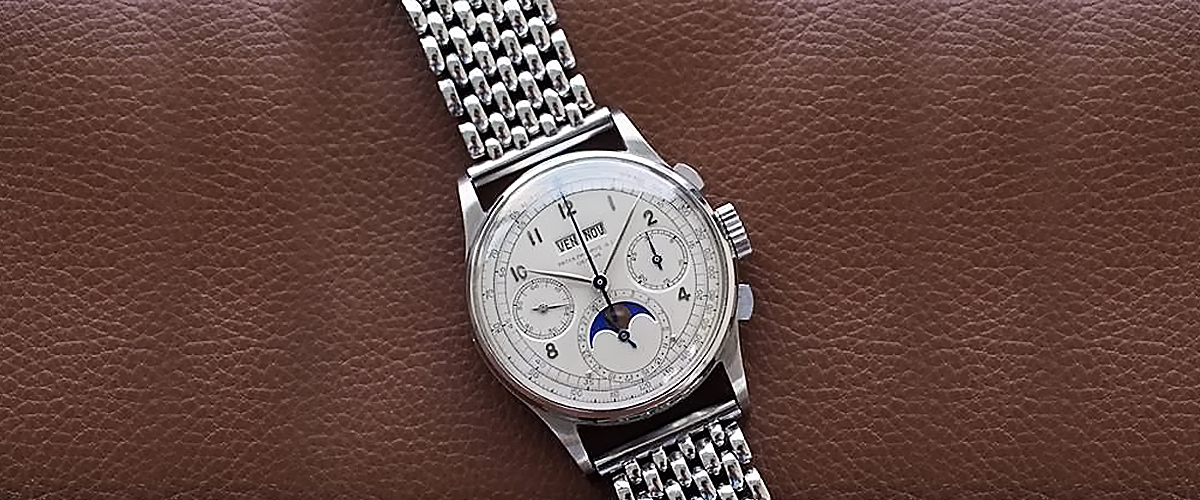mens watches, Patek Philippe, Swiss chronograph 1518 Valjoux ebauche collector, world's first perpetual calendar chronograph