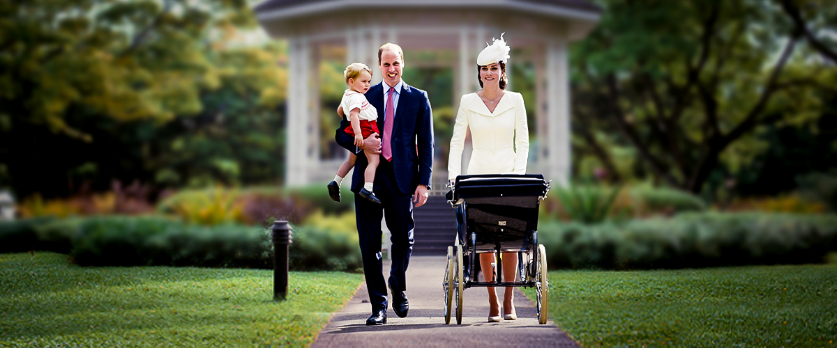 Prince William dressed as the bestman for Prince Harry's weddinng along with wife, Kate Middleton dressed in a sophisticated white dress and son, Prince George