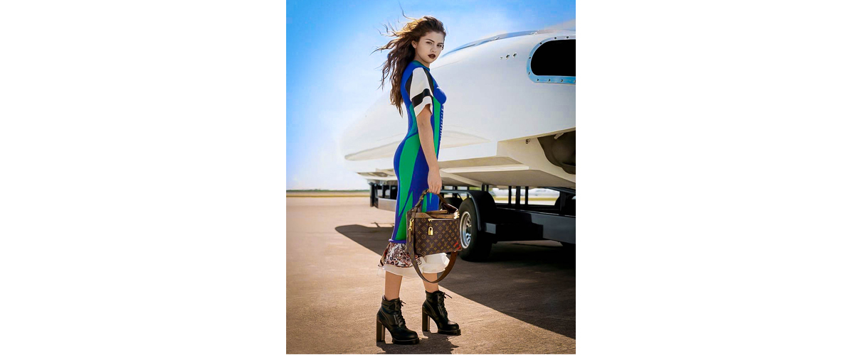 Selena Gomez, high heel boot, standing next to a plane, Selena with LV bag, beautiful multicolored dress