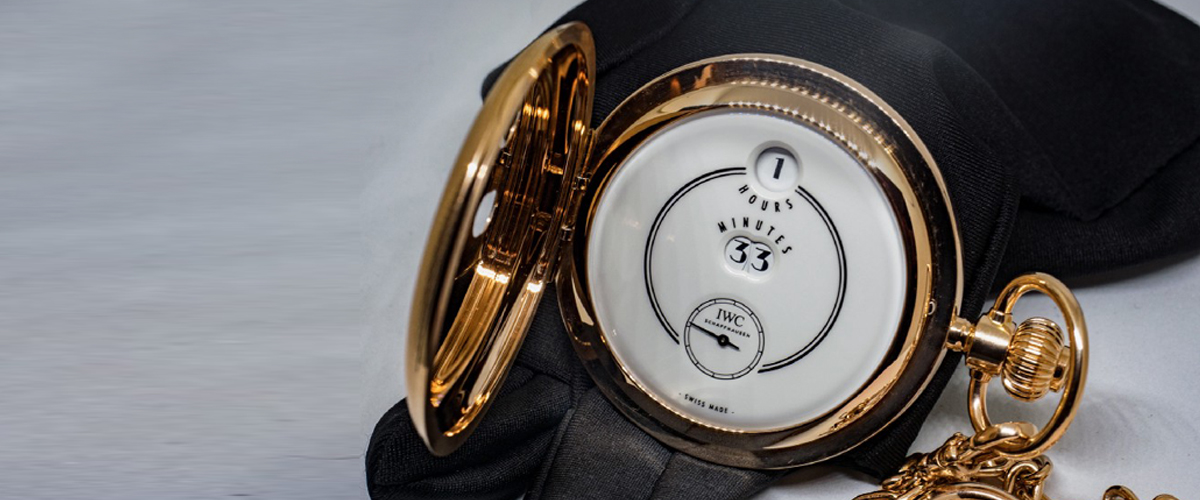 A Golden Colored Limited Edition Iwc Engraved Schaffhausen Gold Pocket Designer Watch By Iwc.