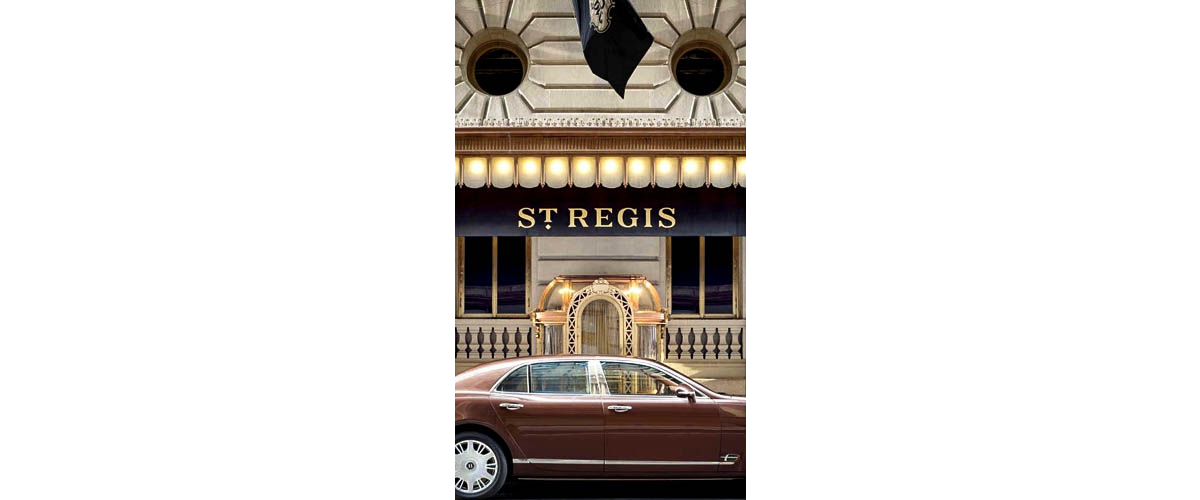St. Regis, The luxury hotel's main entrance, A blood red car passing from the front side of the hotel in New York