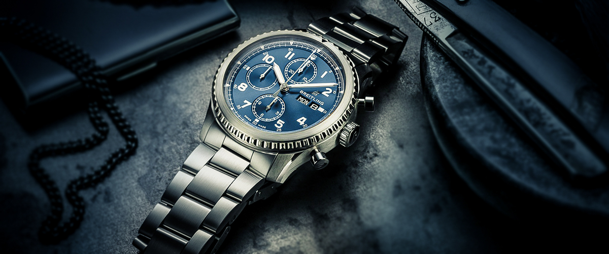 A blue Breitling watch accompanied with strikingly designer needles and an attractive blue dial. The fine detailing and finish is what makes it a luxury watch