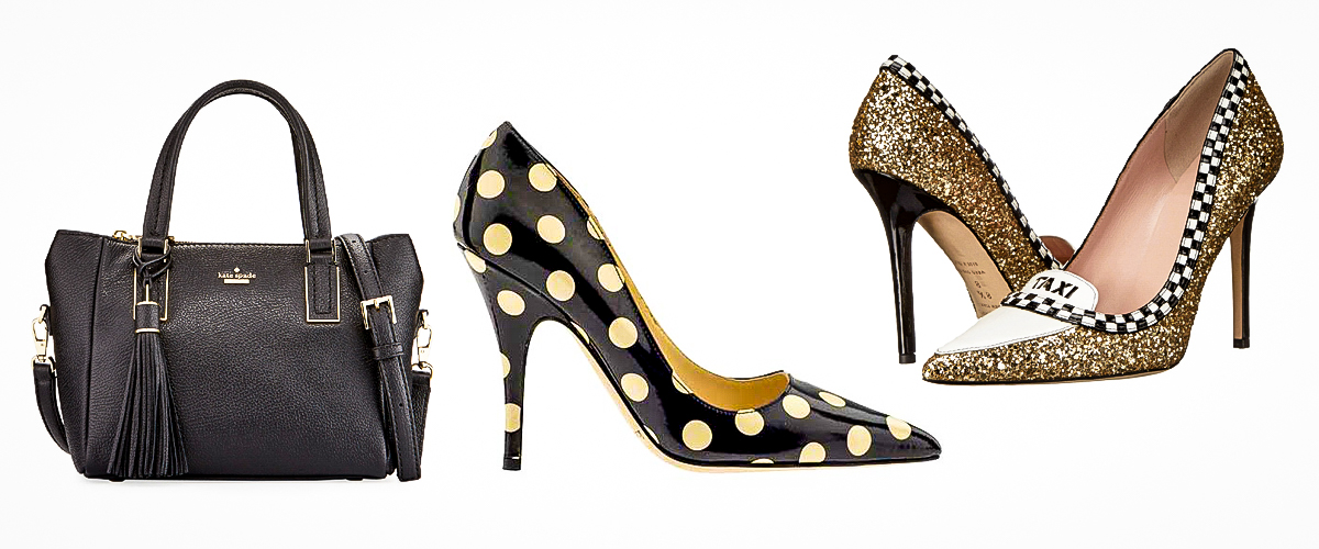 Kate Spade's vibrant and unique designs – a black handbag suitable for all women of all ages, a pair of black heels with yellow polka dots giving it a fresh look, and a pair of funky and glossy golden heels.