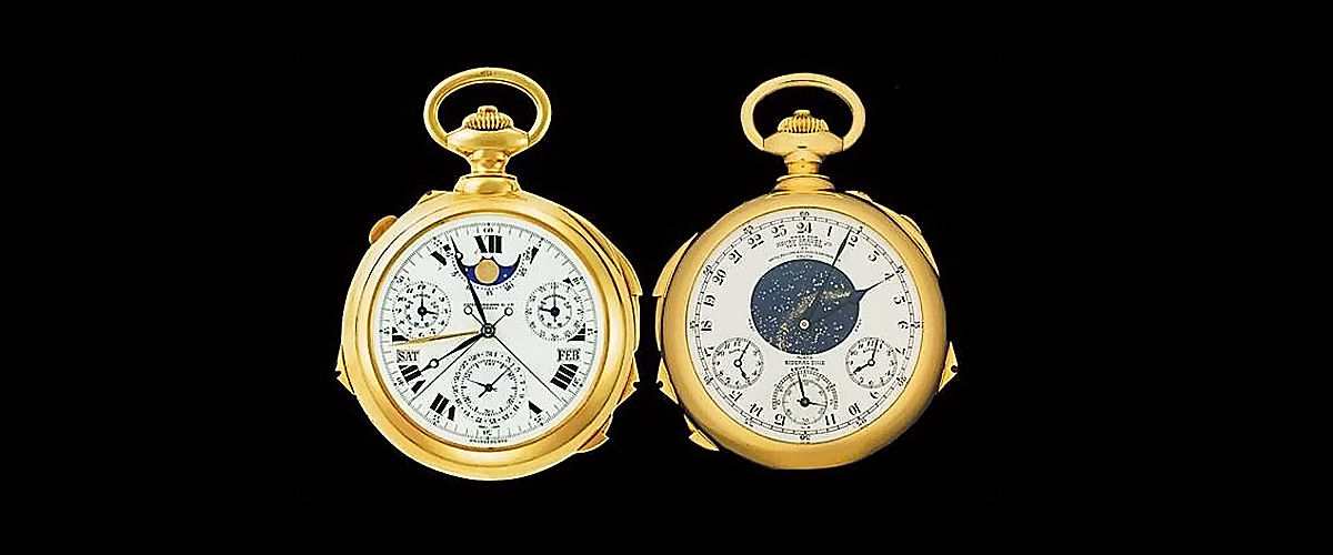 Patek Philippe, designer pocket watch, 24 complications celestial chart, most complicated watch ever made, sunset and sunrise time