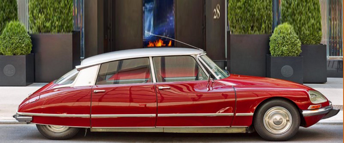 Baccarat New York, luxury hotel, Citroën DS car saloon, classic luxury car services, vintage cars New York, Baccarat hotel