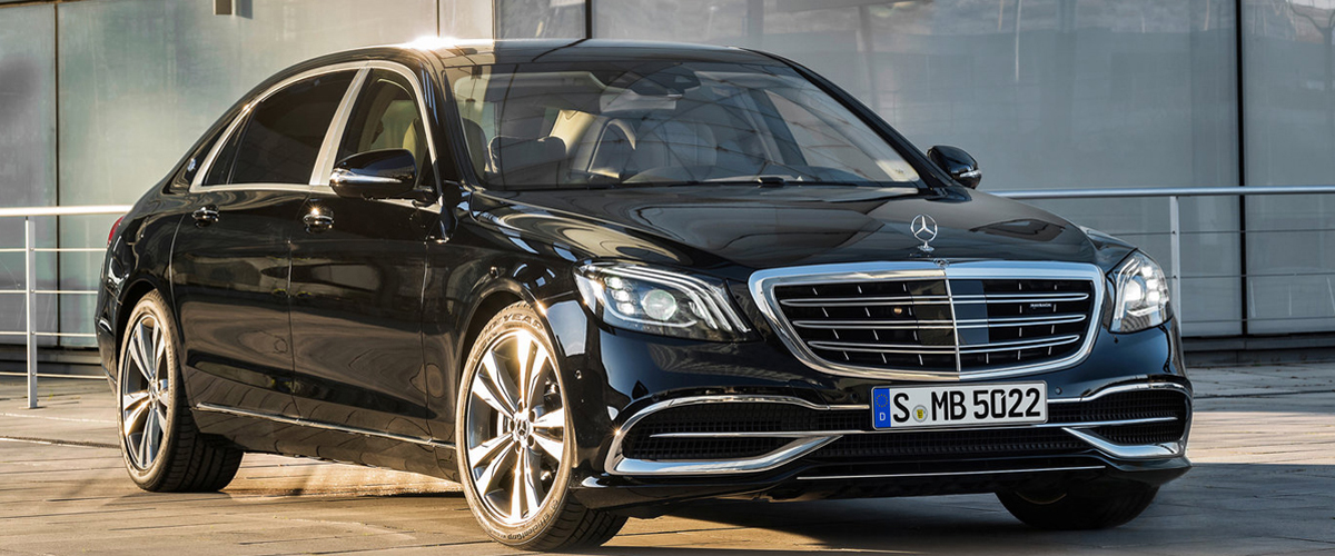 A Black Colored Mercedes Benz S Class Shining Outside