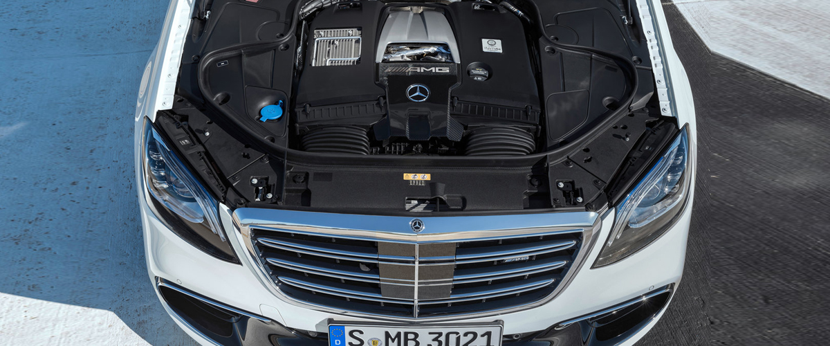 The Engine Of Mercedes Benz S Class Displayed