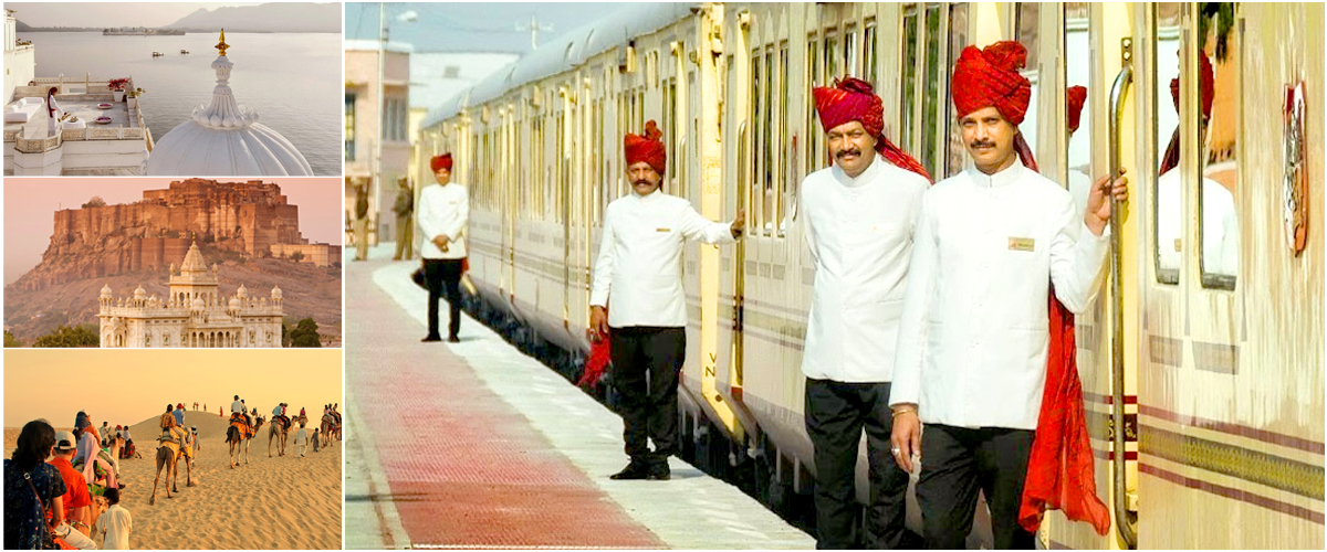 Maharaja Express, the beautifully-designed luxury train of India with durbans at its doors to warmly greet the passengers.