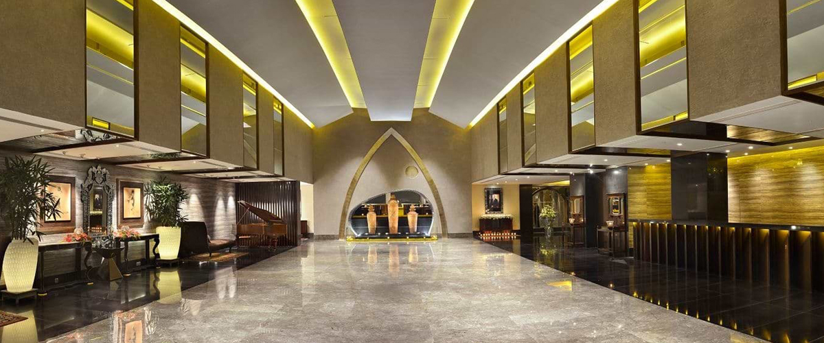 The plush interiors at the lobby of The Lalit Great Eastern Kolkata, one of the oldest and best heritage properties in India