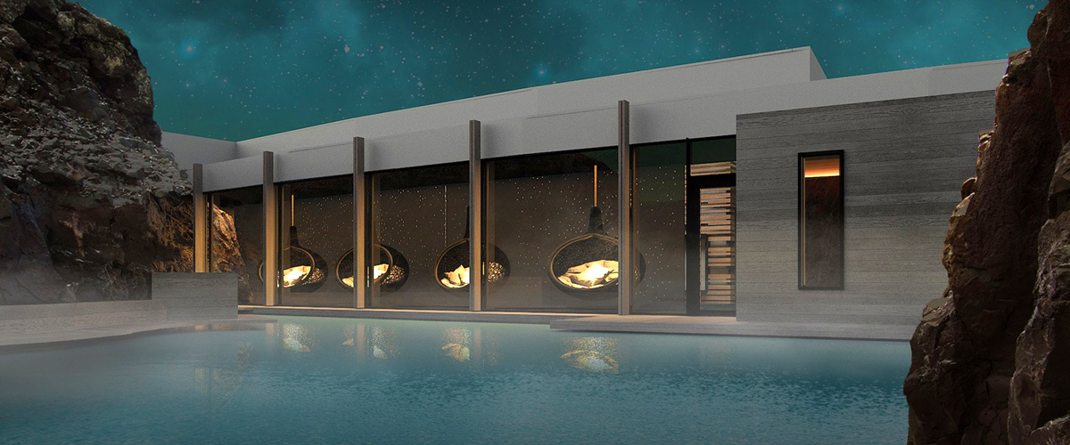 Iceland's first five-star hotel and spa resort, The Retreat, carved into Icelandic rock, private swimming hole, subterranean spa