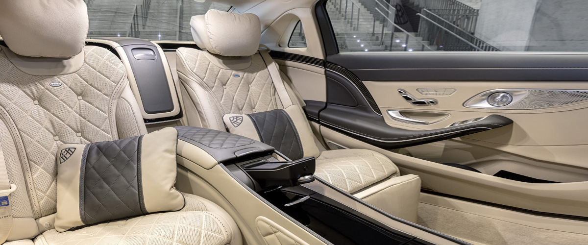 The Beige And Black Interiro Back Seating Of Mercedes Benz S Class