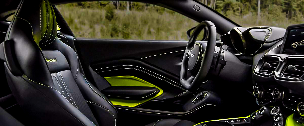 The Luxurious Interiors On Vantage By Aston Martin In Black And Hints Of Green
