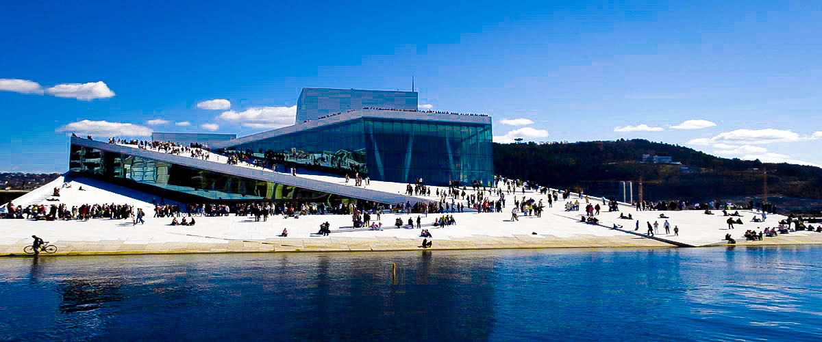 Norway visit tourism art culture oslo holiday, modern architecture, blue sea beach, dark blue sky