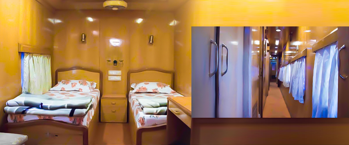 A view of the luxury coaches of The Maharaja Express along with fully furnished interiors, that bear a sense of comfort and luxury.