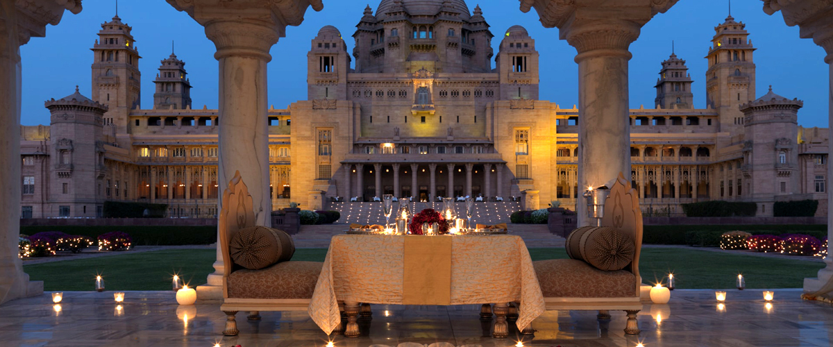 A candle-lit dinner at the splendid Umaid Bhawan Palace in Jodhpur, one of the best heritage hotels in India