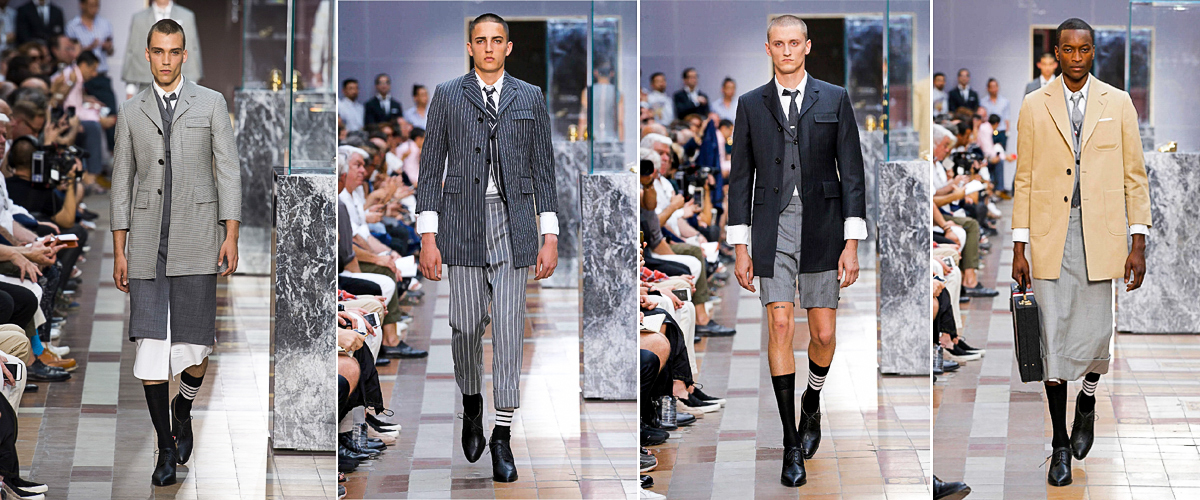 Models sporting four classy designs by Thom Browne on the ramp
