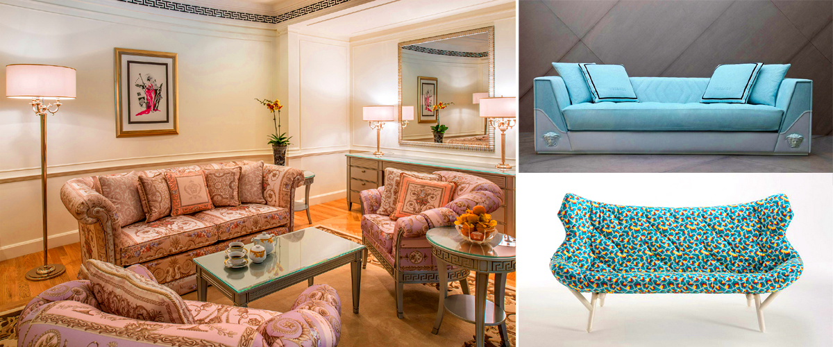 Floral sofa sets in pastel hues by Versace in different designs and colours plus stunning sofas on the side that have been covered in a lovely cerulean blue that's perfect for your living room.